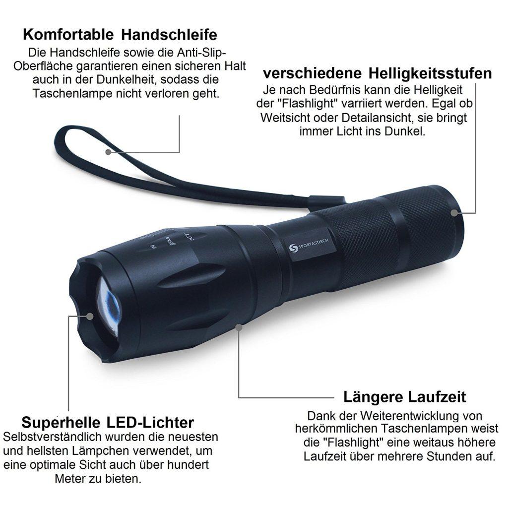 Premium Taschenlampe Flashlight von Sportastisch